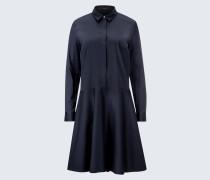 Baumwollstretch-Hemdblusen-Kleid in Navy