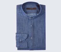 Stehkragenhemd Leno in Denim Blue