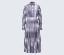 Popeline-Hemdblusen-Kleid in Navy-Weiß