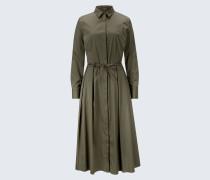 Baumwollstretch-Hemdblusenkleid in Oliv