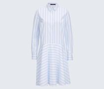 Popeline-Hemdblusen-Kleid in Hellblau-Weiß