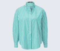 Bluse in Grün-Weiß gestreift