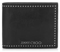 Mark Portemonnaie aus schwarzem Satin-Leder mit kleinen Nieten