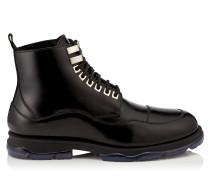 Baldwyn Stiefel aus schwarzem glänzendem Kalbsleder mit Lammfell