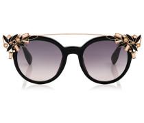 Vivy Sonnenbrille in Gold und Schwarz mit rundem Gestell und abnehmbaren Clip