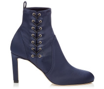 Mallory 85 Booties aus marineblauem Satin