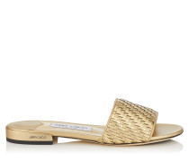 Joni Flat Sandalen aus Gewebe in Gold-Mix mit Metallic-Optik