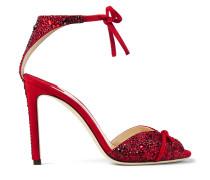 Talaya 100 Sandalen aus rotem Wildleder mit Hotfix Kristall