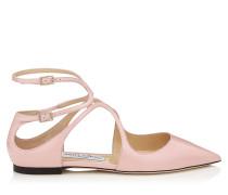 Lancer Flat Spitze flache Schuhe aus Lackleder in Rosa
