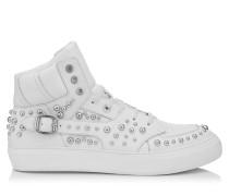 Ruben Sneaker aus weißem und stahlfarbenem Kalbsleder mit Nietendetails