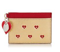 Maxie Kartenetui aus goldenem Leder in Metallic-Optik mit rotem Herzen-Print