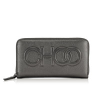 Bettina Große Brieftasche aus metallischem Nappaleder in Anthrazit mit Logo