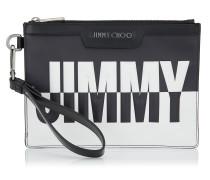 Derek Mini/id Kleine Dokumenttasche aus schwarzem und weißem Leder