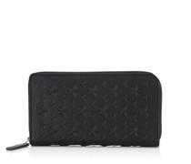 Carnaby Reisebrieftasche aus schwarzem, genarbtem Leder mit Sternen
