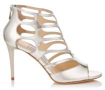 REN 85 Sandalen aus silbernem Glanzleder