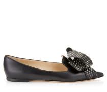Gleam Flat Flache Schuhe mit spitzer Zehenpartie aus schwarzem Ziegenleder mit Schleife