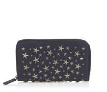 Carnaby Reisebrieftasche aus dunkelblauem genarbten Leder mit Sternen in Schiefergrau und Kristall