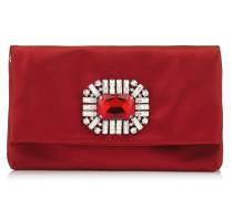 Titania Clutch aus Satin in Rot mit Schmucksteinverzierung in der Mitte