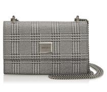 Leni Mini-Tasche aus silbernem Glitzergewebe mit Prince of Wales Checkmotiv