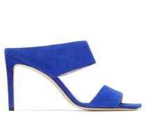 Hira 85 Sandaletten mit eckiger Zehenpartie aus Wildleder in Kobaltblau