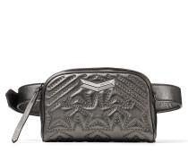 Helia Camera Kleine Tasche aus Nappaleder in dunklem Anthrazit mit Matelassé-Optik