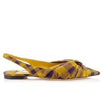 Annabell Flat Spitze flache Schuhe mit Slingback-Riemen aus Check-Gewebe in Safran Mix