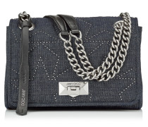 Helia Shoulder Bag/s Umhängetasche aus Denim in Dunkelblau mit Mininieten