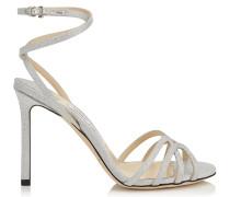 Mimi 100 Sandalen aus feinem silbernem Glitzergewebe