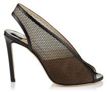 Shar 100 Sandaletten-Booties aus schwarzem Lackleder und Netzstoff