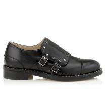 Berry 30 Oxford-Schuh aus schwarzem glänzendem Leder mit Nietendetails