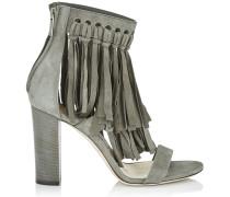 Malia 95 Sandalen aus graubraunem Wildleder mit Fransen