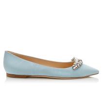 Romy Flat Flache spitze Schuhe aus blauem Moiré-Gewebe mit Kristalldiadem