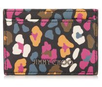 Umika Kartenetui aus Leinengewebe mit mehrfarbigem Leoparden-Print