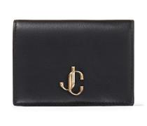 Myah Faltbares Portemonnaie aus schwarzem Kalbsleder mit JC Logo