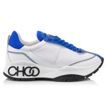 Raine Sneakers zum Schnüren aus Neopren-Kalbsleder in elektrischem Blau und gummiertem Leder