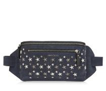 Oscar Gürteltasche aus dunkelblauem Denim-Wildleder mit metallischen Sternen