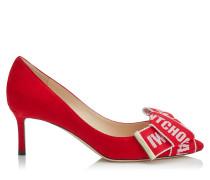 Tegan 60 Spitze Pumps aus rotem Wildleder mit Logo-Schleife in Rot und Rose