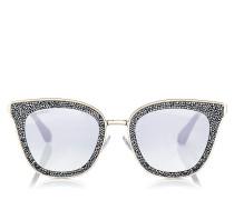 Lizzy Cat-Eye Sonnenbrille in Grau und Silber mit Kristalldetails