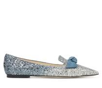 Gabie Flat Flache spitze Schuhe mit Glitzer-Dégradé in Silber und Dämmerungsblau
