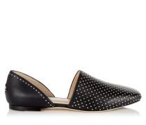 Globe Flat Flache Schuhe aus schwarzem Nappaleder mit Nietendetails