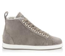Colt/f High-Top-Sneaker aus dunkelgrauem Samt-Wildleder mit Shearling-Fütterung