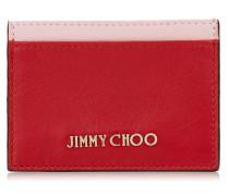 Umika Kartenetui aus zweifarbigem Leder in Rot und Rose