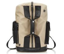 Arlo Reisetasche aus gewebtem Nylon in Chai und schwarzem Satinleder