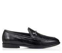 Marti/f Mokassins aus schwarzem Falten-Lackleder mit Kristall-Accessoire