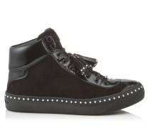 Argyle High-Top Sneaker aus schwarzem Samt-Wildleder mit Perlenbesatz