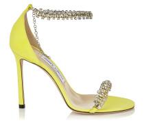 Shiloh 100 Sandaletten aus Wildleder in Fluo-Gelb mit Schmucksteinbesatz