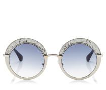 Gotha Sonnebrille mit rundem Gestell in Nude und Palladium mit Glitzer