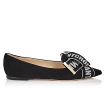 Gleam Flat Flache Schuhe mit spitzer Zehenpartie aus schwarzem Wildleder mit Schleife in Schwarz und Kreide