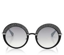 Gotha Sonnebrille in Schwarz und Palladium mit rundem Gestell und Glitzer