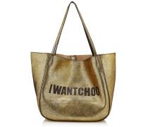 Stevie Tote Tasche aus Ziegenleder in Gold und Schwarz mit Metallic-Optik und I Want Choo Logo
